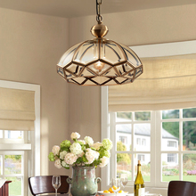 American Country Style Led Ceiling Lights Copper for Living Room Kitchen Bedroon Vintage Plafonnier Hanging Light Glass Lamp