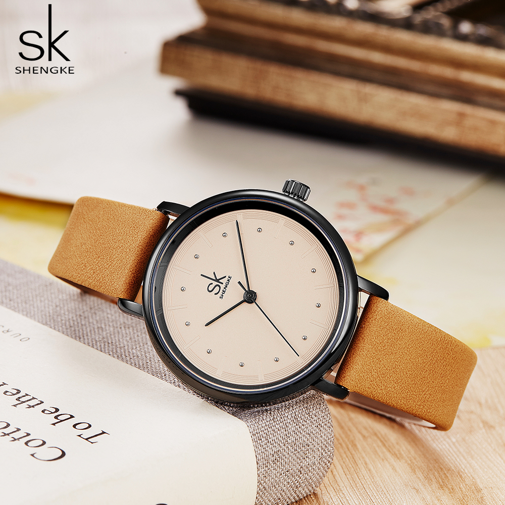 shengke simple women dress watches retro leather female clock Top brand women's fashion mini design wristwatches clock 1