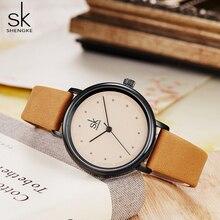 Shengke Eenvoudige Vrouwen Jurk Horloges Retro Lederen Vrouwelijke Klok Top Brand Vrouwen Mode Mini Ontwerp Horloges Klok