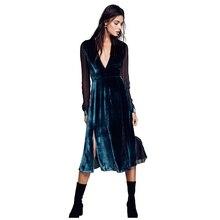 Mypf-Для женщин новые пикантные элегантные бархат шить шифоновое платье с длинным рукавом женский сезон: весна–лето V Воротник Сексуальная Высокая Талия Темпера
