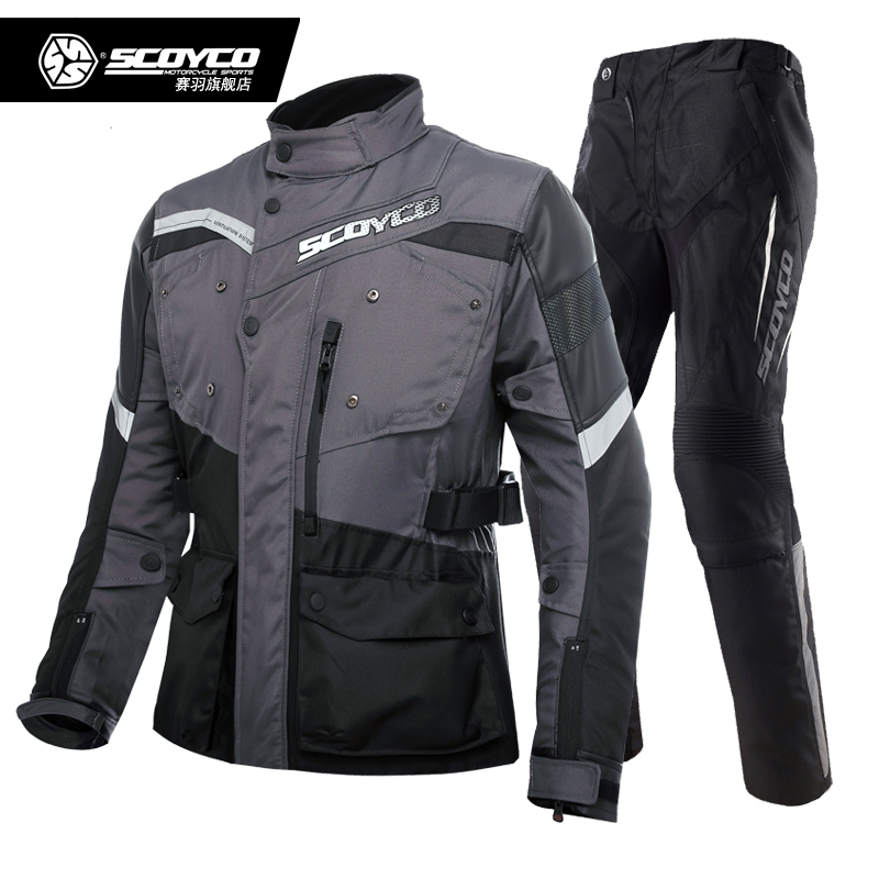 SCOYCO Waterproof Keep Warmer Motorcycle Jackets Pants set Motorbike Protective Riding Suits Motocross Racing Protective Clothes