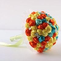 כתום + כחול + צהוב חדש חתונה יהלומים מלאכותיים פרחים מלאכותיים זרי כלה משי עמיד לזרוק זר חתונה מותאם אישית