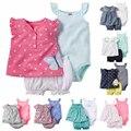 New 2017 Baby Girl Clothing Sets Short Sleeve Outwear Sleeveless Bodysuits Short Pants Diaper 3 pcs Bebes soft Cotton set