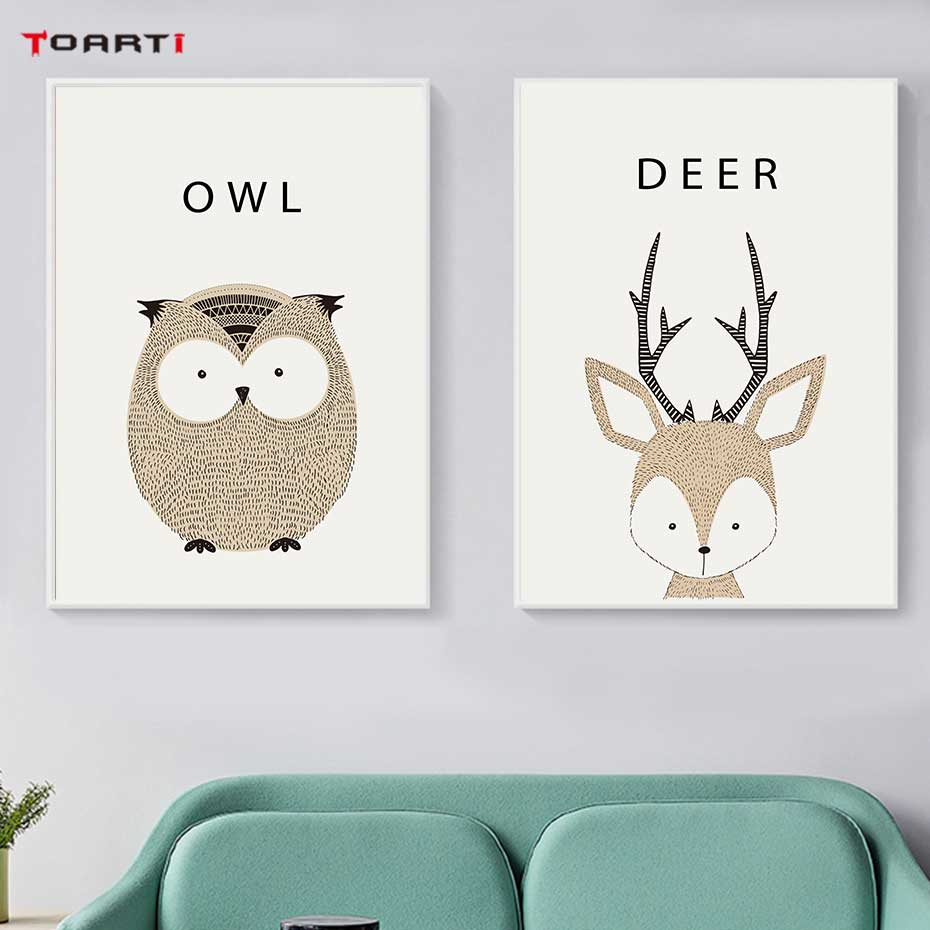 Image 3 - Kawaii Cartoon Animals Posters Prints Owl Fox Deer Canvas Painting For Kids Nursery Bedroom Modern Wall Art Pictures Home Decor-in Painting & Calligraphy from Home & Garden