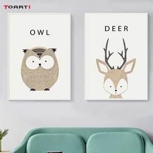 Image 3 - Kawaii Cartoon Animals Posters Prints Owl Fox Deer Canvas Painting For Kids Nursery Bedroom Modern Wall Art Pictures Home Decor