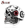 steel soldier Mens smile skull CZ Punk cool fashion vintage ring for man jewelry biker men ring BR8-232