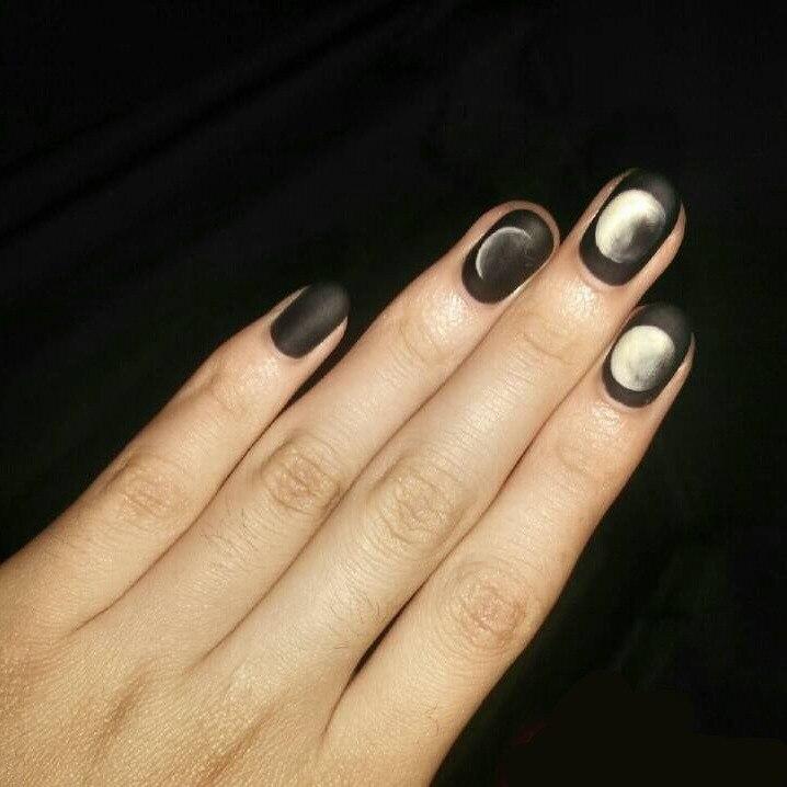 24pcs black matte feeling gel polish nail art tips Moon Eclipse ...