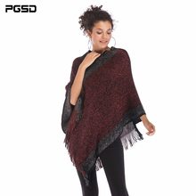 PGSD Autumn Winter simple Fashion Women Clothes Spliced Slash neck Fringed Cape shawl Bat sleeve knitted Loose Pullover female black chiffon loose bat sleeves cape shawl top