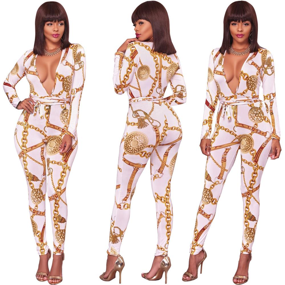 Autumn Print Long-sleeved Jumpsuit Nightclub Thick Cotton Skinny Wowen Streetwear Sexy New Mid Waist Rompers Womens Jumpsuit Hot