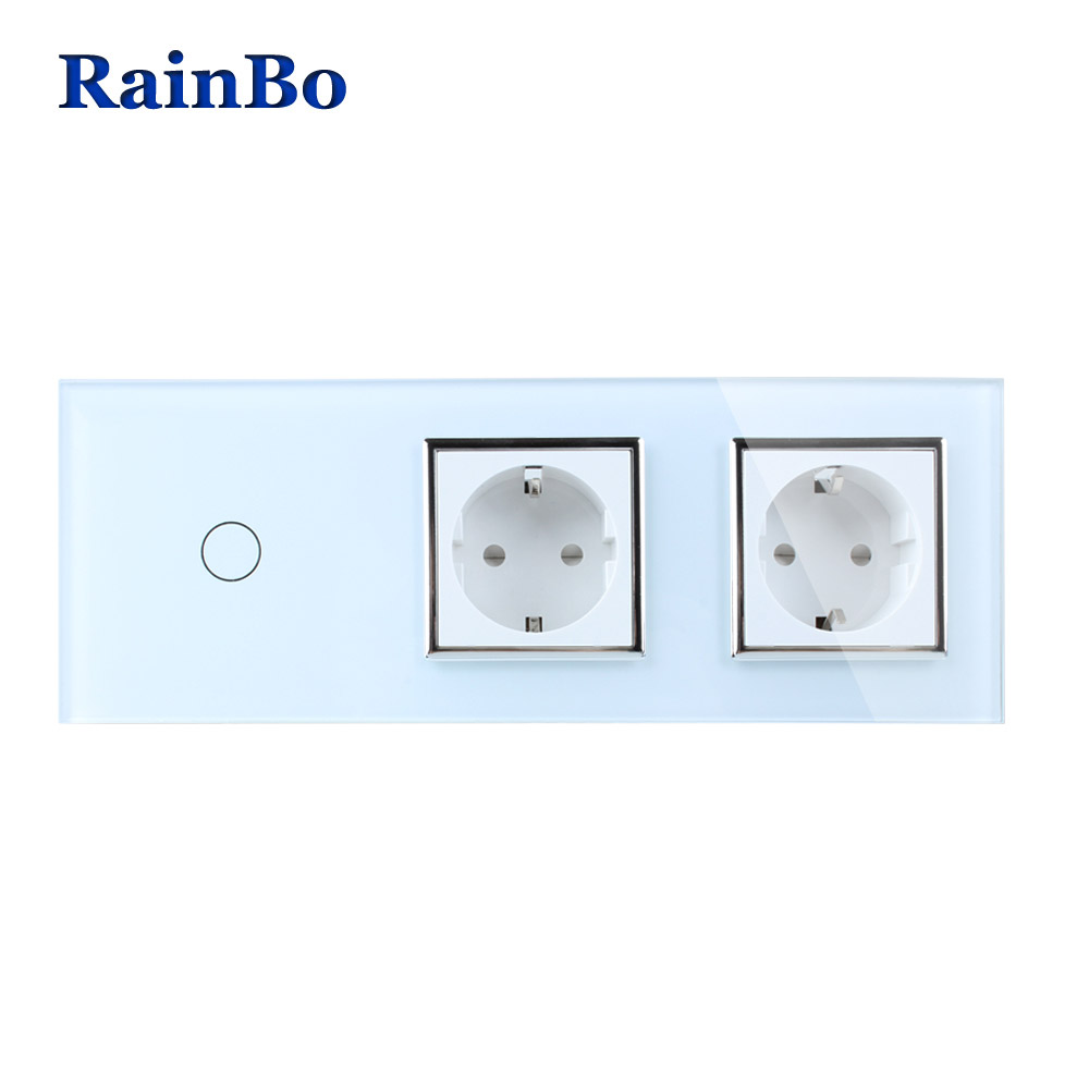 RainBo Brand Crystal Glass Panel Electronic Wall Socket EU Touch Switch Control Screen Wall Light Switch 1gang1way A39118E8ECW/B rainbo touch screen control tempered crystal glass panel wall light touch switch socket wall power usb socket a29118e2uscw b