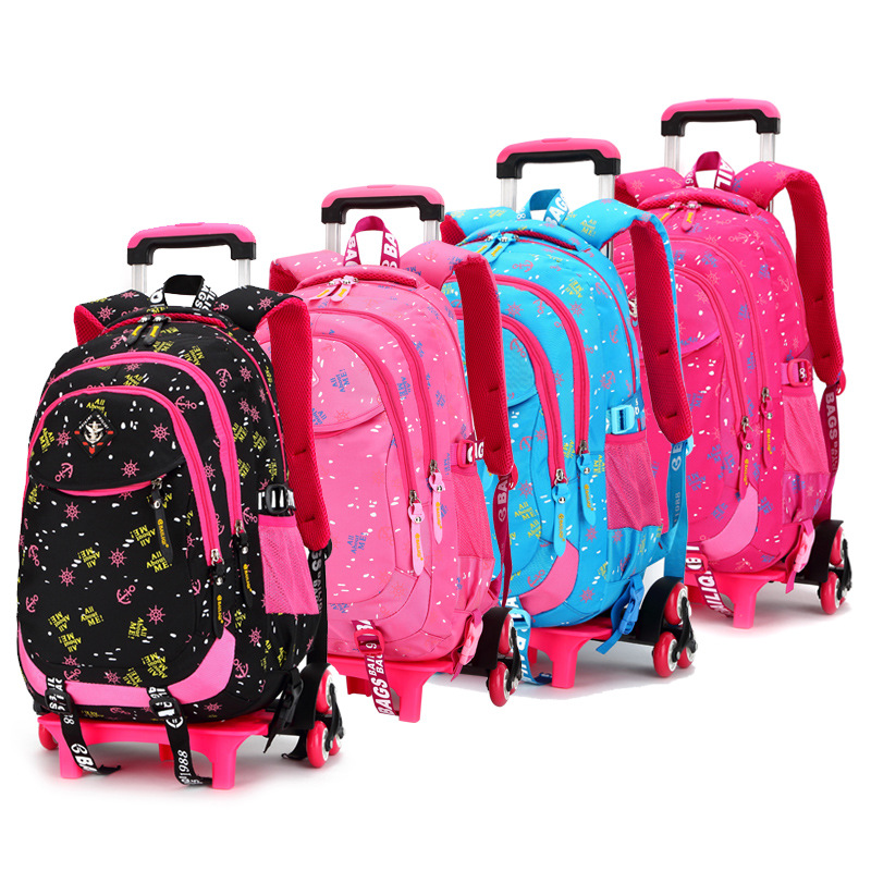 Children School Bags Triple Wheels Trolley Backpack