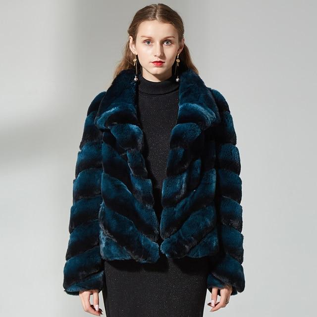 real fur coat genuine rabbit fur coat for women winter overcoat for women