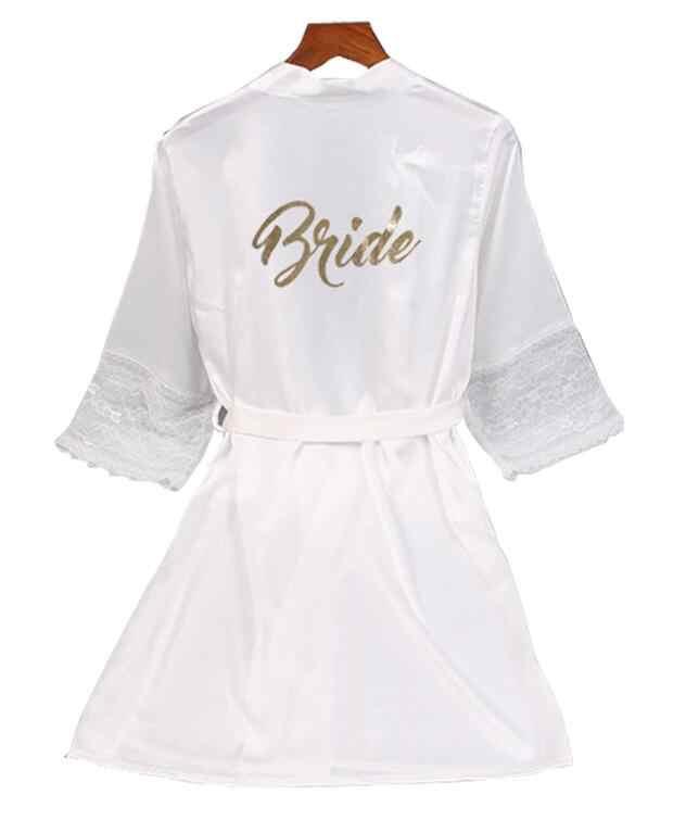 Kant mouw sexy vrouwen nachtkleding gewaden plus size goud brief bruiloft kimono satijn zijde vrouwelijke badjassen bridemaids gewaden