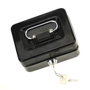 Image 4 - مصغر النثرية النقدية صندوق من الاستانلس ستيل قفل الأمان قابل للقفل معدن آمن صغير يصلح ل ديكورات منزلية 4.9*3.7*2.2 بوصة
