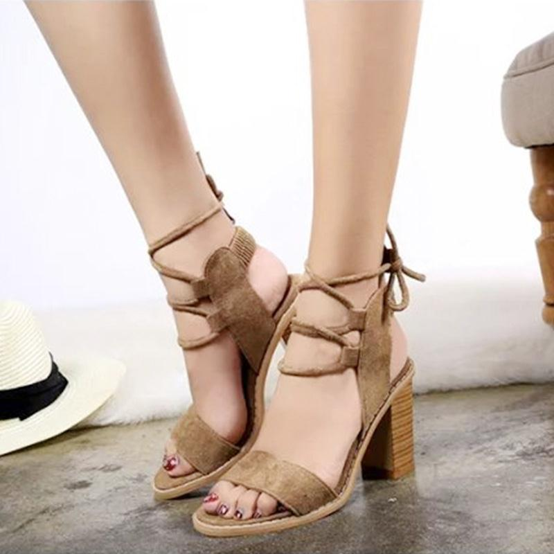 2017 Women Sandals Flock Cross-tied Lace-Up Ankle Strap PU Leather Solid Square heel Fashion Summer Woman Casual Shoes 3 Colors xiaying smile summer new woman sandals platform women pumps buckle strap high square heel fashion casual flock lady women shoes