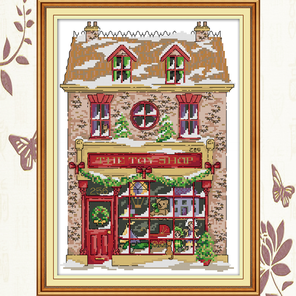Joy Sunday Christmas toy house cross stitch embroidery set printing cloth embroidery kit needlework Christmas style cross stitch in Package from Home Garden
