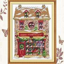 Joy Sunday,Christmas toy house,cross stitch embroidery set,printing cloth kit,needlework,Christmas style cross