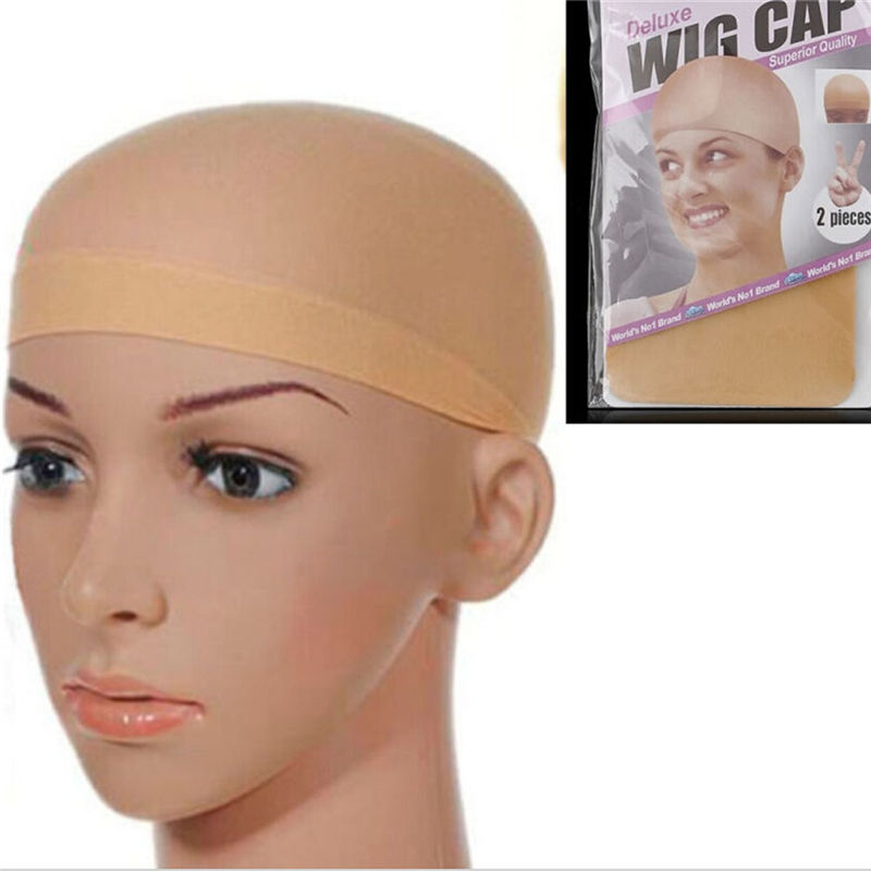 2pcs/lot Beige  Styling Accessories Stretchable Elastic Hair Net Mesh Hair Nets Wig Liner Hairnet Snood Glueless Dome Wig Cap