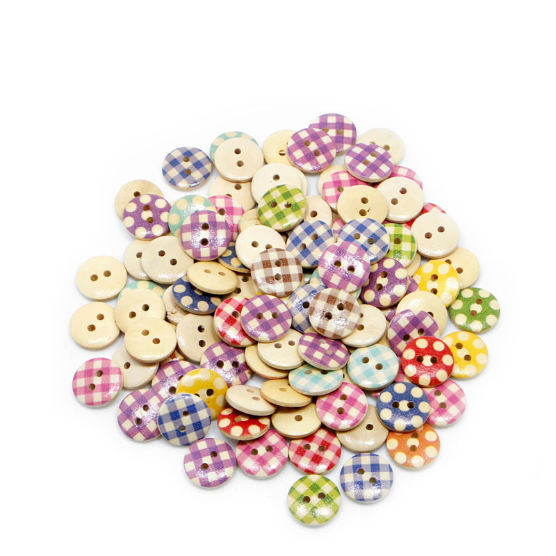 100pcs 15mm Diverse Mixed 2 Holes Round Pattern Wood Buttons Sewing Scrapbooking