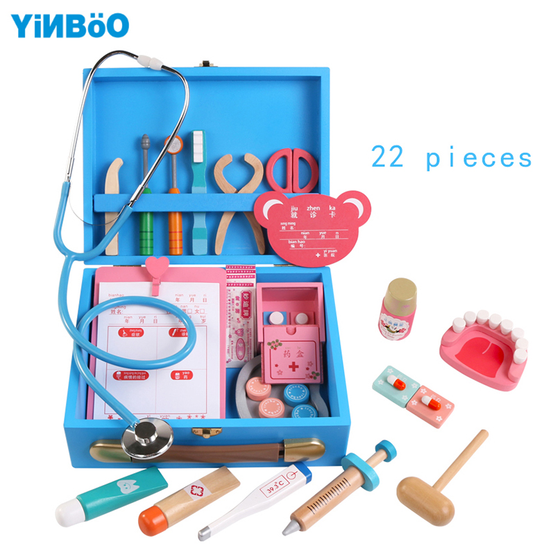 Wooden toys Funny play Real Life Cosplay Doctor game toy Portable Medicine Box Pretend Doctor Play Set For Children