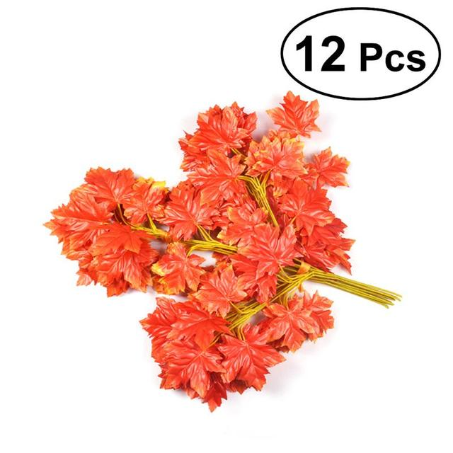 12pcs flowers simulation of red maple leaf deep fall artificial