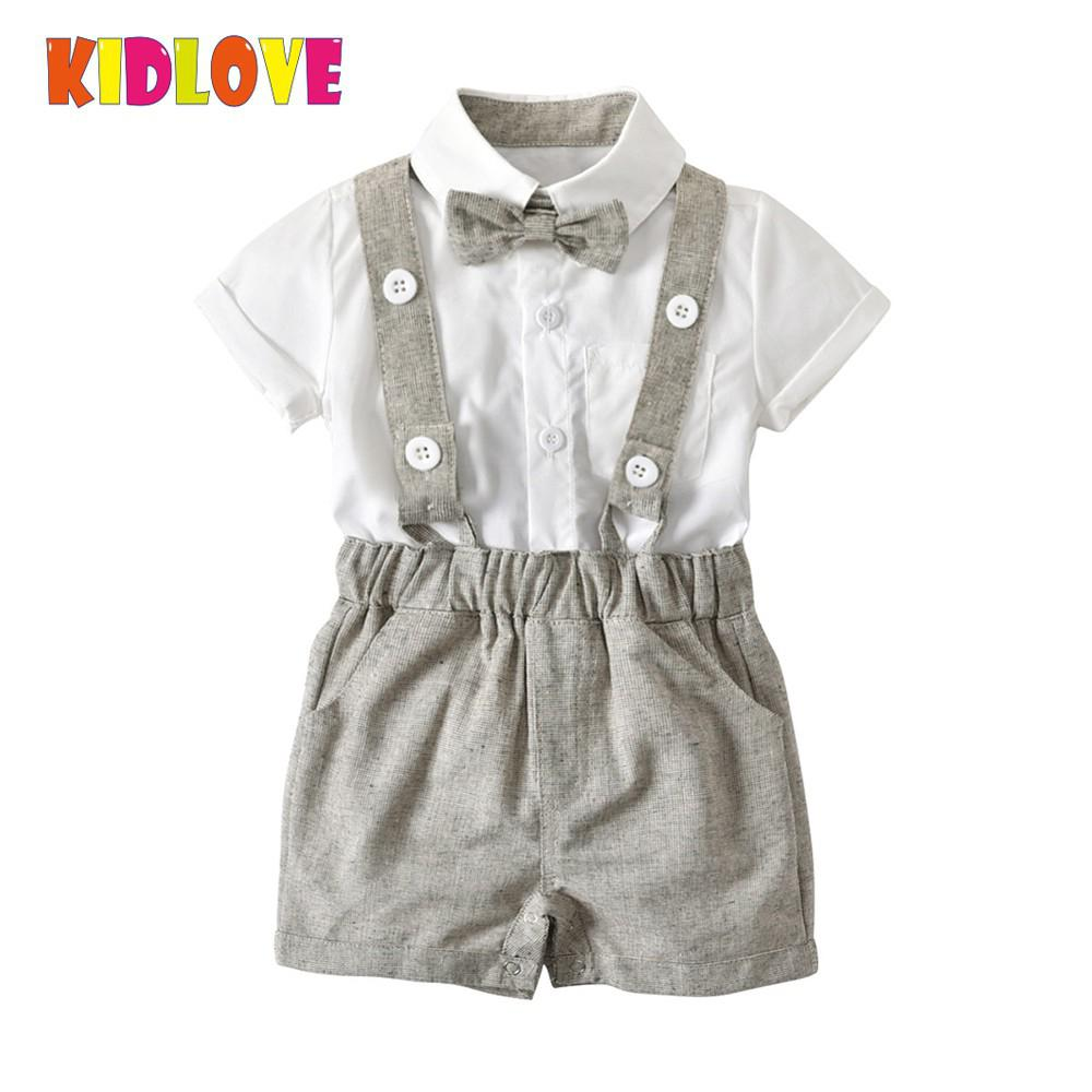 KIDLOVE Summer Baby Boy Gentleman Clothes Set Suspender Trousers & Short Sleeve Blouse & Bow Tie Party Wedding Outfits Gift baby boy clothes set 2018 spring new gentleman plaid clothing suit for newborn baby bow tie shirt suspender trousers 5 years