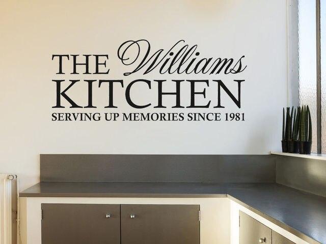 Nome personalizzato Famiglia Cucina Stickers Murali Autoadesivi ...