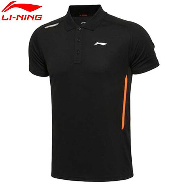 Li-Ning Men's Trainning & Exercise T-shirts Turndown Collar Summer Breathable LiNing T Shirt Sports T-shirts APLL051 MTS1830