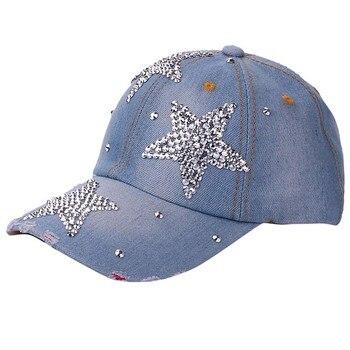 Women's adjustable five-pointed star baseball cap ladies fashion casual rhinestone denim baseball mesh hat casquette femme 2