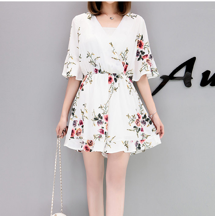 2018 Black Short Rompers Printing Flower V Neck Jumpsuit plus size 5XL Tie Waist Casual Summer Sexy Deep Women Jumpsuits S7N702A 5