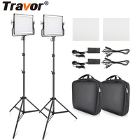 L4500 2 set Video Light With Tripod Dimmable 3200K 5600K Studio Photo Lamp LED Photography Lighting for Wedding News Interview