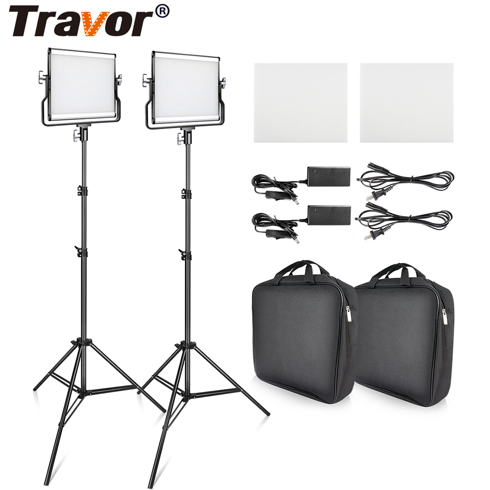 Travor L4500 2 Kit LED Light for Video Photography Lighting With Tripod Bi-color 3200-5600K Studio Photo Video Metal Panel Lamp laoshizi luosen genuine leather chest bag for men messenger bags vintage crossbody sling bag man shoulder bag small chest pack