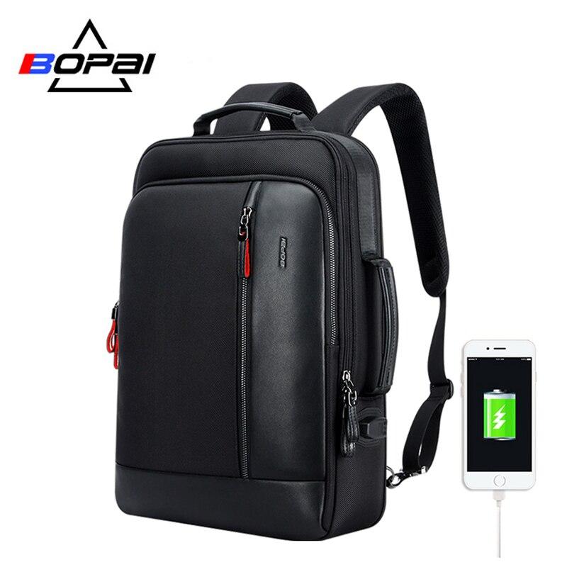 BOPAI multifonction USB chargement hommes 15.6 pouces sac à dos pour ordinateur portable Anti-vol agrandir hommes voyage sac à dos pour adolescent livraison directe