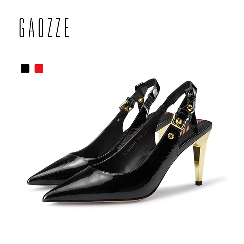 GAOZZ Fashion Pointed Toe Stiletto High Heels Patent Leather Office Women Shoes Belt Buckle Back Strap Party Shoes Pumps 2018 women office shoes solid color fashion pointed toe stiletto high heels elastic band ankle strap slingback sandals pumps leather