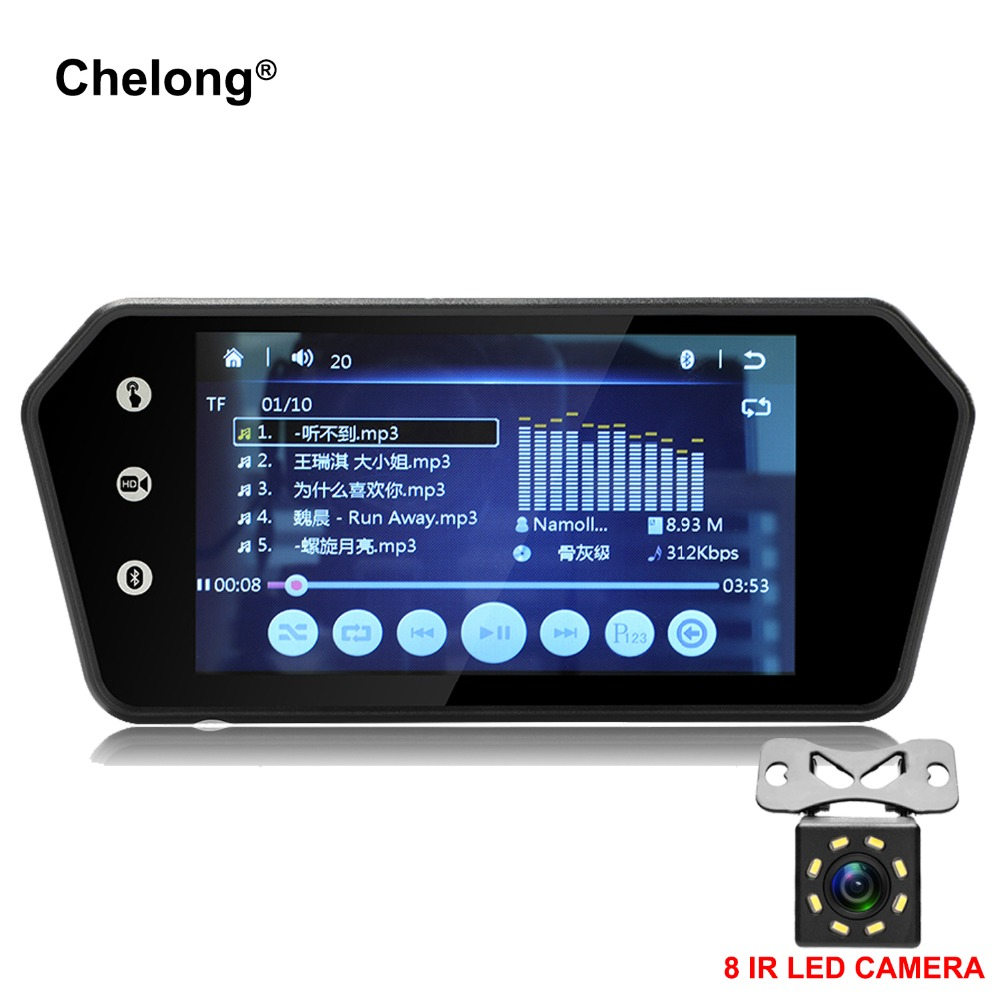 7 Rearview Mirror Monitor Bluetooth Car MP5 Rear View Camera TFT LCD Screen Handsfree FM USB Car Parking Monitor reversing 7 inch touch screen bluetooth mp5 car rear view mirror monitor tf usb 800 480 lcd fpv bt mirror pal ntsc for car or truck bus