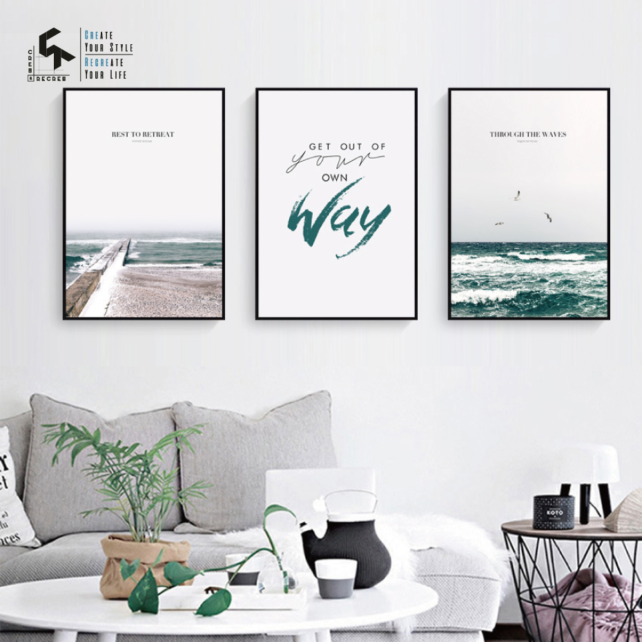 CREATE RECREATE Nordic Poster Sea Quote Posters And Prints Canvas Art Prints Wall Paintings Decorative Pictures CR1810115021 in Painting Calligraphy from Home Garden