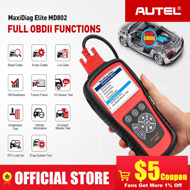 AUTEL MaxiDiag Elite MD802 Pro All System OBD2 Scanner OBD 2 Automotive Car Diagnostic Tool OBDII Scan Tool Code Reader PK MD805-in Code Readers & Scan Tools from Automobiles & Motorcycles