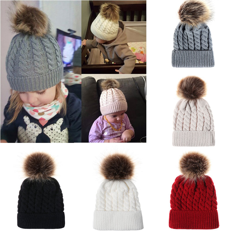 51c1be2d2b926 Infant Winter Warm Knit Crochet Cap Baby Beanie Hat Toddler Kid Faux Fur pom  pom Knit skullies Cap Photography Props