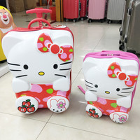 cute new children's Luggage ,Hello kitty 3D cartoon trolley case,student suitcase,ABS+PC storage box can be used as a school bag