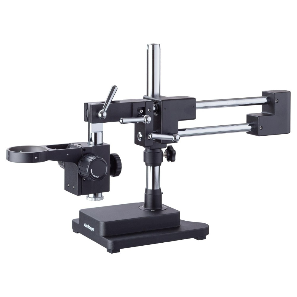 AmScope Heavy Duty Double Arm Black Boom Stand