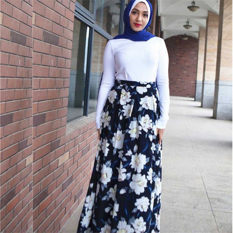 33fde9f794 Long shirts muslim women Islamic clothes 2019 turkish arab dubai fashion  flower maxi pleated skirt for