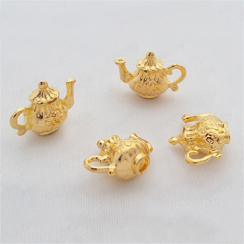 (29301)30PCS 12*15MM Gold Color Plated Zinc Alloy 3D Teapot Charms Diy Jewelry Findings Jewelry Accessories wholesale