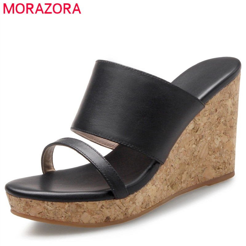 MORAZORA Wedges shoes woman fashion contracted summer shoes high heels sandals women genuine leather solid platform shoes woman fashion high heels sandals women genuine leather buckle summer shoes brand new wedges casual platform sandal gold silver