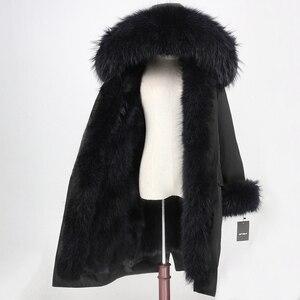 Image 2 - OFTBUY x ロングパーカー防水生地冬のジャケットの女性本物の毛皮のコート毛皮の襟フードキツネの毛皮ライナー着脱式