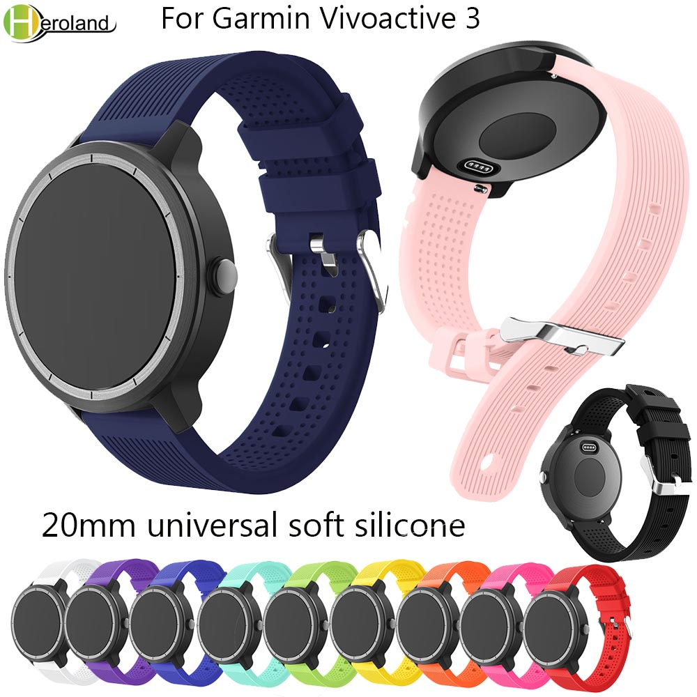 Soft Silicone Replacement Smart Watch Strap For Garmin Vivoactive3 Vivomove HR Smart Wristband Samsung Galaxy Watch Active Band