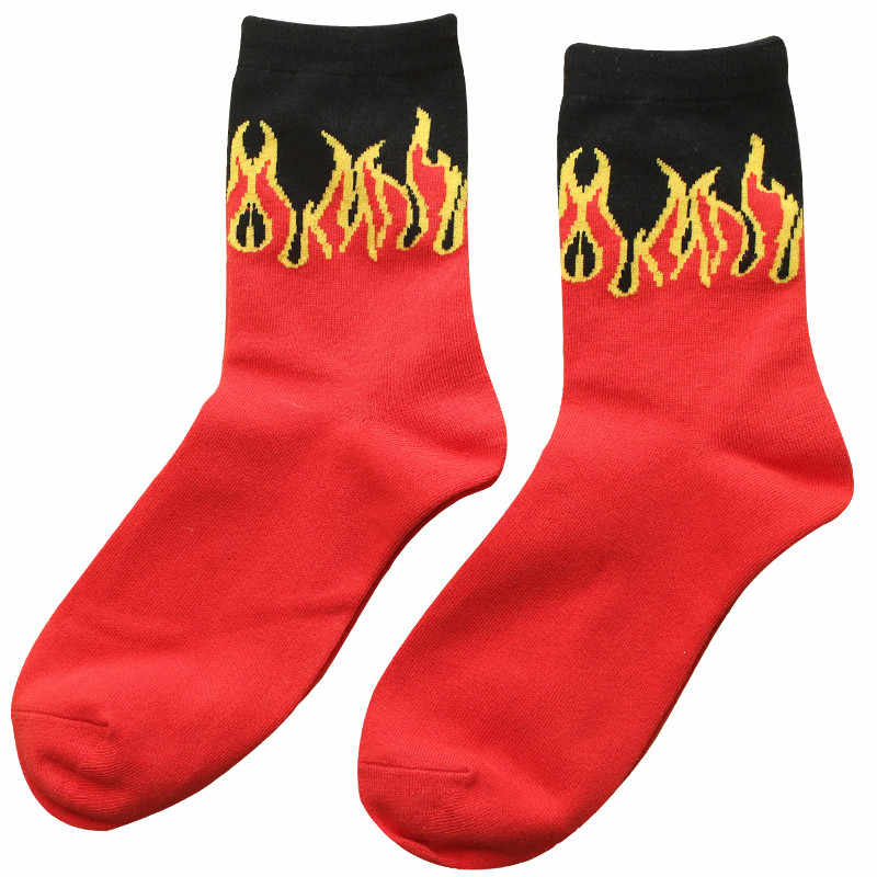 남자 패션 힙합 디자인 붉은 불꽃 패턴 승무원 양말 살아있는 자카드 화재 클래식 스트리트 스케이트 보드 면화 긴 양말 스포티