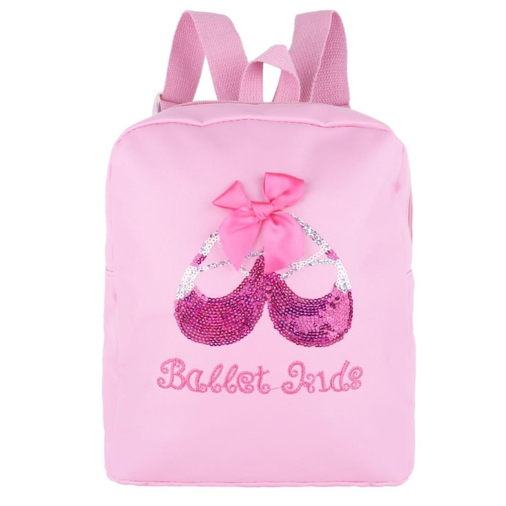 Girls Lovely Backpack Ballet Dance Bag Students School Backpack Shiny Sequins Toe Shoes Embroidered Shoulder bagpack Dance Bag