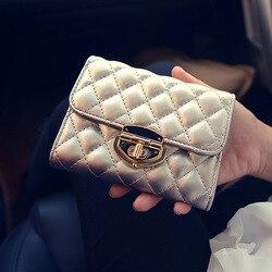 Известный бренд, весенний роскошный короткий женский кошелек с замком, винтажный многофункциональный кошелек с отделением для монет, держа...
