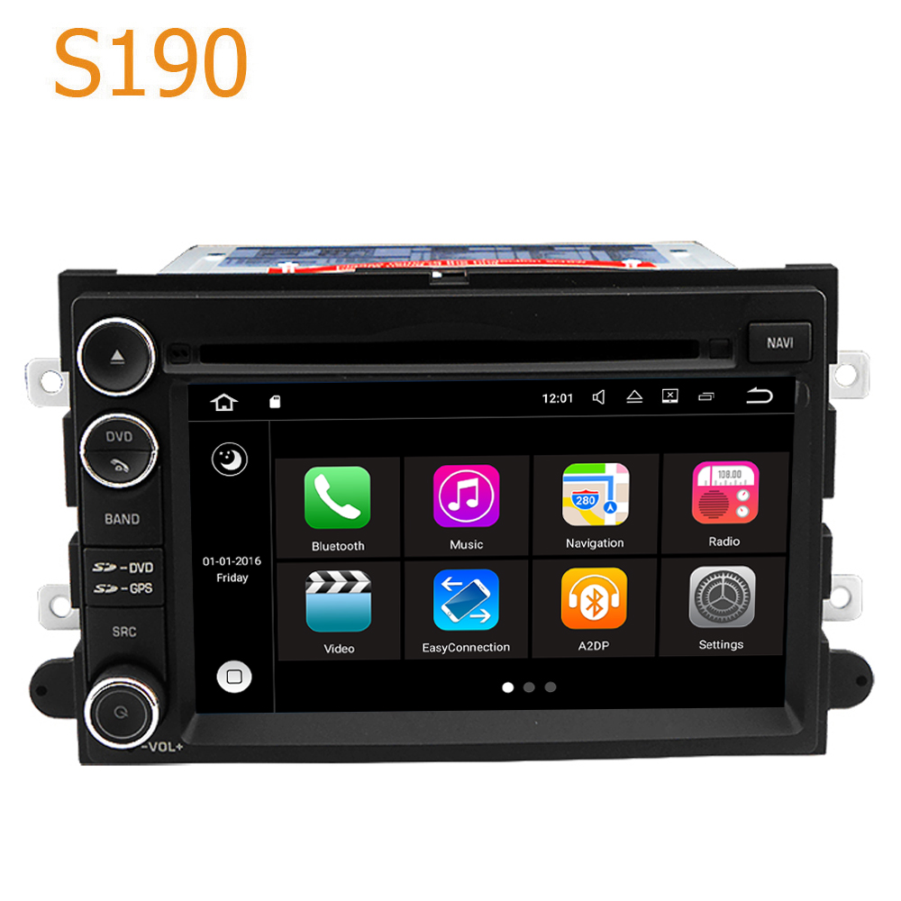 Route Top Winca S190 Android 7.1 Système PX3 Voiture GPS Lecteur DVD Radio Navigation pour Ford Bord Expedition Fusion Mustang 2007-2009