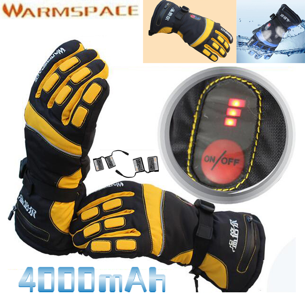 1 Pair 4000mAh Rechargeable Battery Winter Ski Outdoor Work Warmer Glove Motorcycle Bicycle Smart Electric Heated Hands Gloves 1 pair 4000mah rechargeable battery with smart switch on off electric heated warm glove winter outdoor work ski warmer gloves